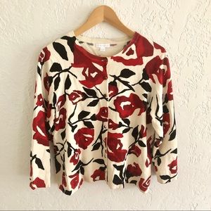Charter Club Abstract Floral Button Cardigan L